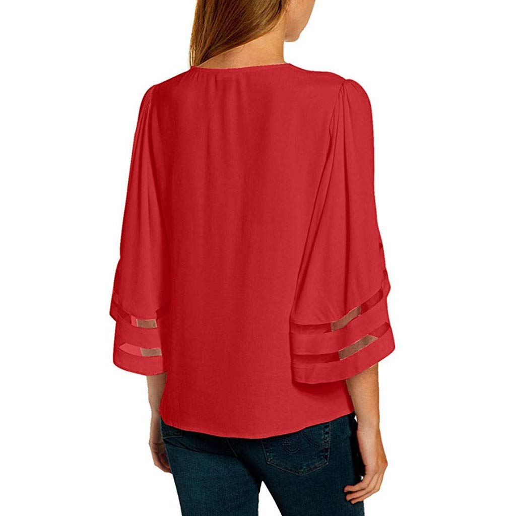 F/_Gotal Summer Tops for Women Plus Size Casual V Neck Mesh 3//4 Bell Sleeve Basic Tunic Shirts Blouse Tops for Girls