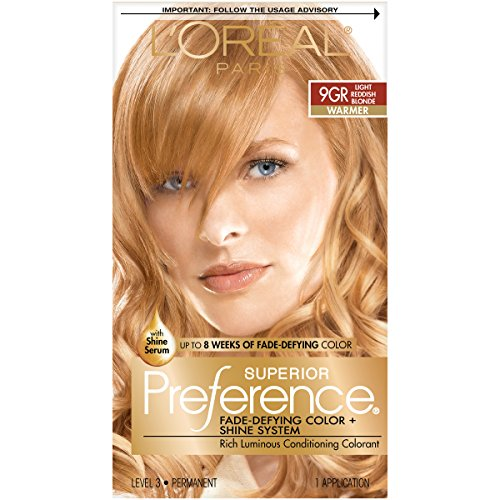L'Oréal Paris Superior Preference Fade-Defying + Shine Permanent Hair Color, 9GR Light Golden Reddish Blonde, 1 kit Hair Dye (L Oreal Excellence Creme Light Reddish Blonde)