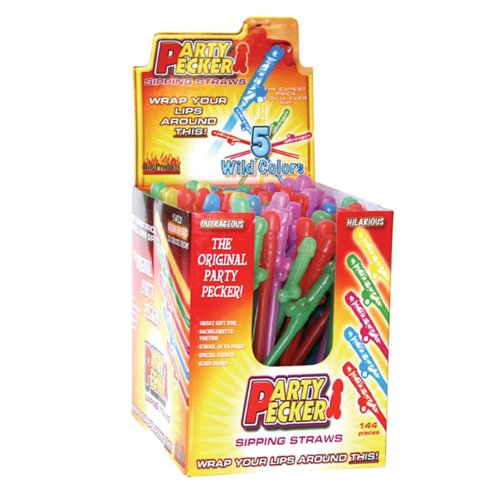Party Pecker Sipping Straws (144/DP) ( 2 Pack ) by Hott Products Unlimited