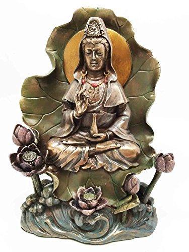 - Bodhisattva Buddha Kuan Yin Seated on Lotus In Meditation Sculpture Statue