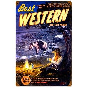 Best Western Cowboy Magazine Vintage Metal Sign Horse 12 X 18 Steel Not Tin