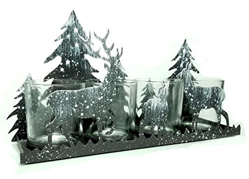 - BANBERRY DESIGNS Rustic Candle Holder - Deer Silhouette Candle-Holder - Antique Grey with White 'Snow' Deer and Evergreen Trees - Glass Votive Holder with Metal Forest Cutouts