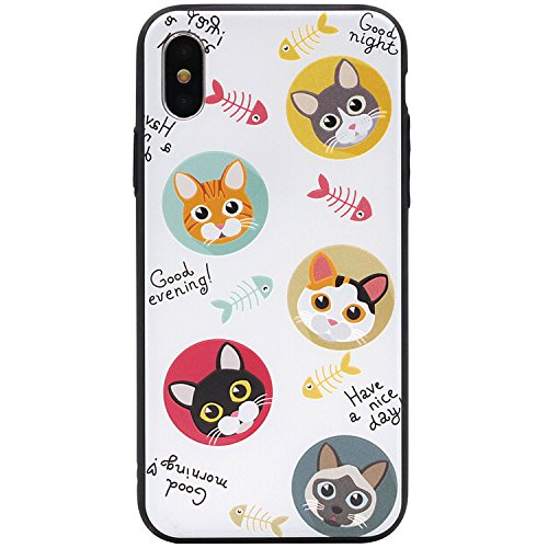 shion Super Cute 3D Printed Bright Vivid Colors Patterns Hybrid PC Ultra Slim Protective Hard Shell Case for iPhone X (2017) Release (Cat#2) (Cute Color Printed)