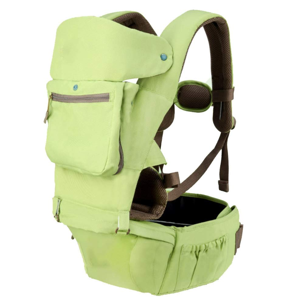 YUMEIGE Carriers Back Carriers,Built-in Windproof Cap,Soft Baby Carriers,Decompression Shoulder Strap,Sling Wrap Newborn ,Zero Abdominal Pressure Soft Filling (Color : Green)