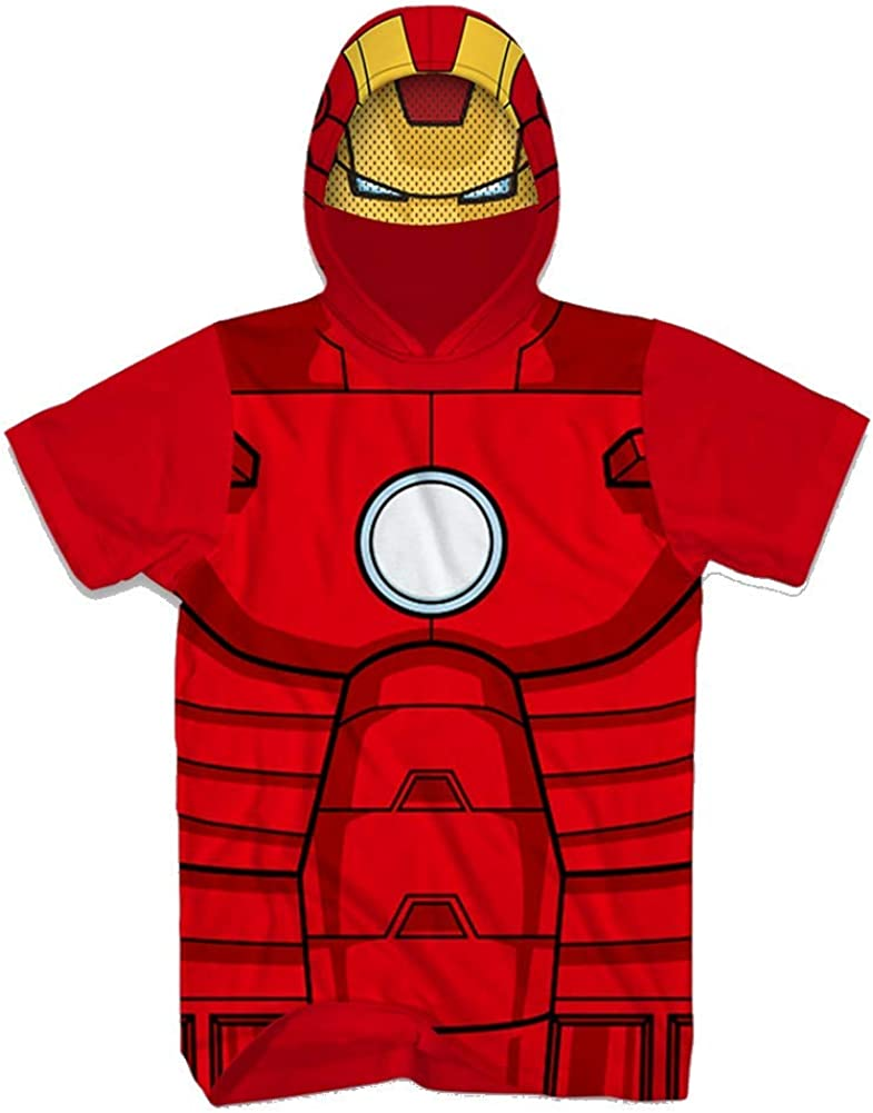 Mens Iron Man Hoodie Graphic T-Shirt Short Sleeve Large Red