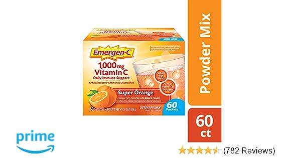 Emergen-C (60 Count, Super Orange Flavor, 2 Month Supply) Dietary  Supplement Fizzy Drink Mix with