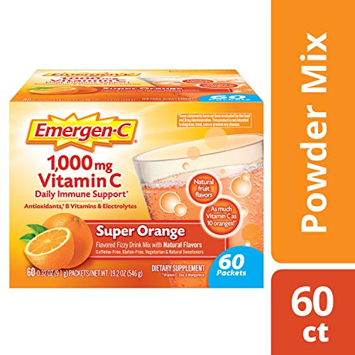 Alacer Flavored Vitamins - Emergen-C (60 Count, Super Orange Flavor, 2 Month Supply) Dietary Supplement Fizzy Drink Mix with 1000mg Vitamin C, 0.32 Ounce Powder Packets, Caffeine Free