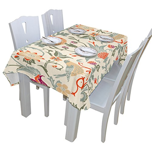 - BAIHUISHOP William Morris Flower Floral Print Tablecloth Rectangular Polyester Wedding Indoor Outdoor Oblong Dining Room Table Cloth Rectangle Party Tablecloths for Rectangle Tables Cover 54x72 Inch