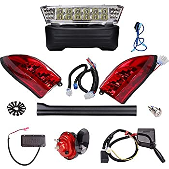 Image of 10L0L Golf Cart Deluxe LED Head/Tail Light Kits for Club Car Precedent with Universal Deluxe Light Upgrade Kit Golf Cart Accessories