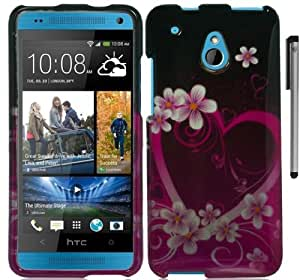 For Htc One Mini Flowers Design Hard Cover Case with ApexGears Stylus Pen (Pink Hearts Flowers)