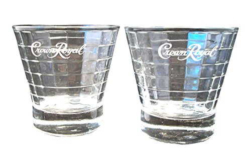 Crown Royal Optic Block Lowball Whiskey Glass Tumblers Set of (Glass Block Optic)