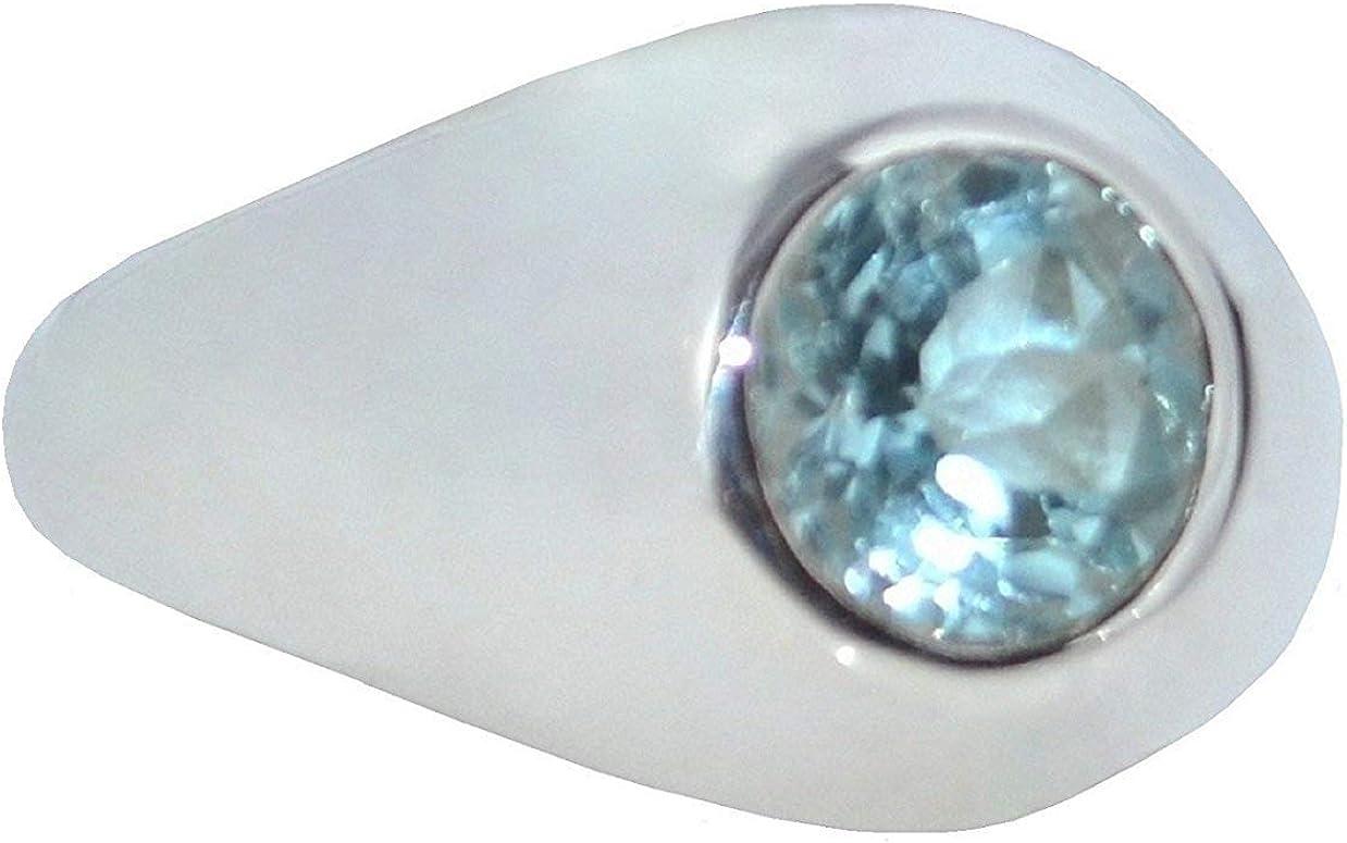 Plata De Ley 925 Topacio Azul Sello Hombre Anillo Auténtico Piedra preciosa De caballero Joyería Todas Los Tamaños N a Z+5