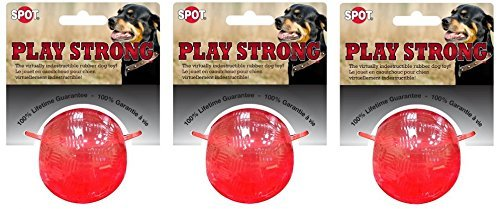 Ethical Pets Play Strong Virtually Indestructible Rubber Ball Dog Toy, 2.5-Inch (3 Pack) by Ethical Pets