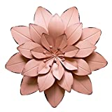 GIFTME 5 Dusty Light Pink Floral Metal Wall Art Décor(11.5x2 inch)
