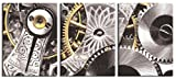 JP London CNVT2188 Gallery Wrap Canvas 2In Thick Heavyweight Canvas Wall Art Triptych 3 Panels Restoration Hardware Metal Works Steampunk Gears 54In Wide By 24In High