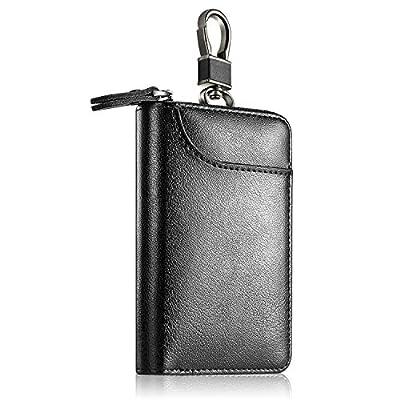 Genuine Leather Car Key case , Car Key Wallet Holder Keychain Holder Metal Hook and Keyring Coin Holder Zipper Wallet Bag for men women - black at  Men's Clothing store