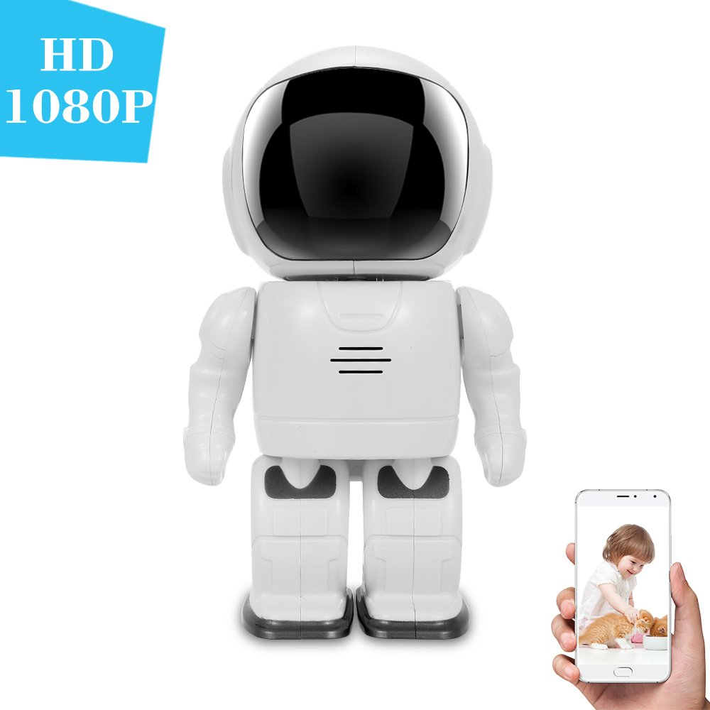 OWSOO 1080P 防犯監視 IPカメラ ロボット型 200万画素 P2P パンチルト双方向オーディオ電話app制御ナイトビジョンモーション検知 B07BXQRVYM  1080P