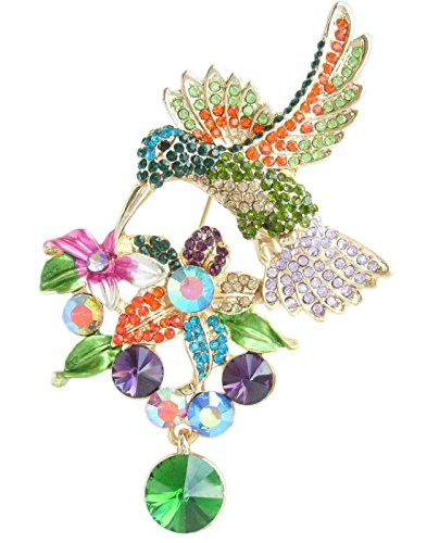 "Sindary Pretty 3.54"" Animal Pendant Hummingbird Brooch Pin Rhinestone Crystal BZ6385 (Gold-Tone Green Multicolor)"