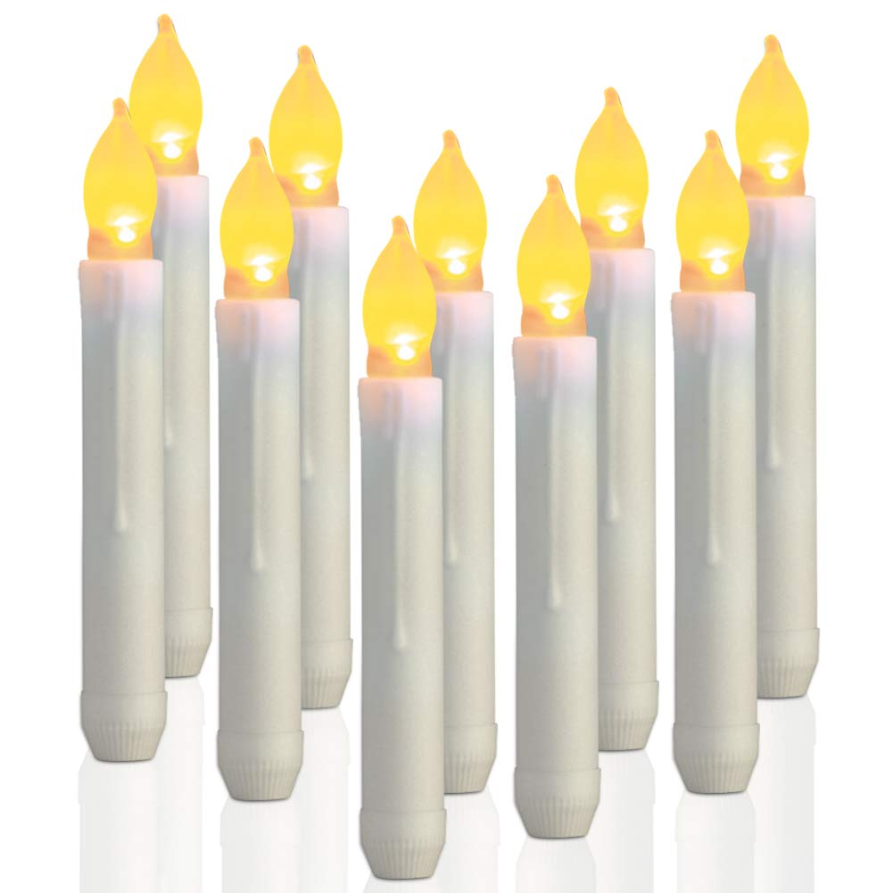 Homemory 12PCS LED Flameless Flickering Taper Candles 0.79x6.5 Amber Yellow Battery Operated Taper Candles for Wedding Party Churches Christmas