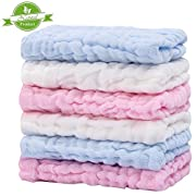 CXMYKE Muslin Baby Washcloths - Super Water Absorbent for Baby Towels - Soft Newborn Baby Face Towel, Suitable for Baby's Delicate Skin,the Best Shower Gifts for Boy Both Girl - 6 Pack 12x12 Inches
