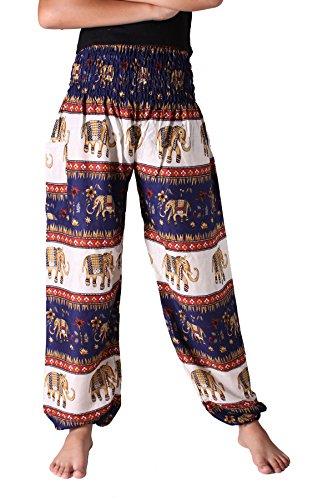 (Bangkokpants Women's Casual Pants Harem Bohemian Clothes Hippie Boho Yoga Outfits Smocked Waist (Bohemian Navy, Plus)