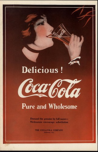 Coca Cola Color Advertisement - Coca Cola Delicious Refreshing Beauty fine scarce 1914 color advertisement print