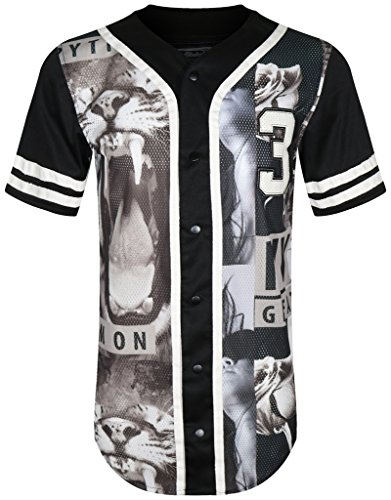 UPSCALE Mens Graphic Print Short Sleeve Jersey T-Shirt BLACK M