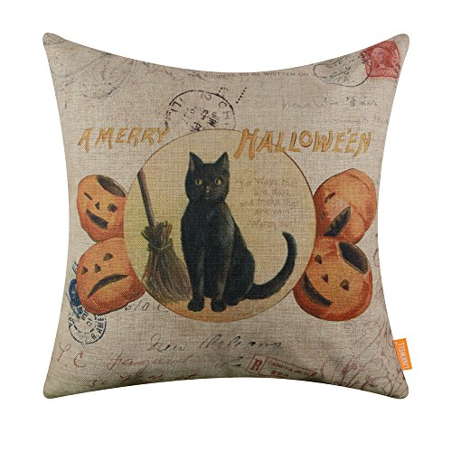 LINKWELL 18x18 inches A Merry Halloween Black Cat and Pumpkin Burlap Throw Cushion Cover Pillowcase CC1375 -