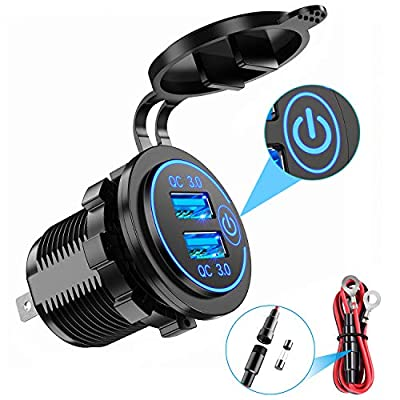 YONHAN Quick Charge 3.0 Dual USB Car Charger with Switch, Waterproof 36W 12V USB Outlet Fast Charger Power Outlet for Marine Boat Motorcycle Truck Golf Cart and More: Automotive