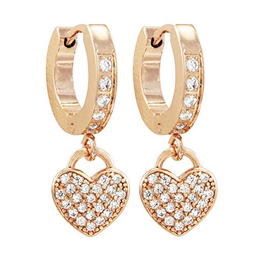 Ivy and Max Girl's Surgical Steel Cubic Zirconia Dangling Hearts Earrings (Rose Gold)