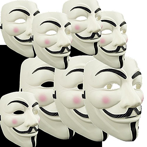 [Adorox V for Vendetta White Costume Face Mask Anonymous Guy Fawkes (1 Mask)] (Voice Changer Mask)