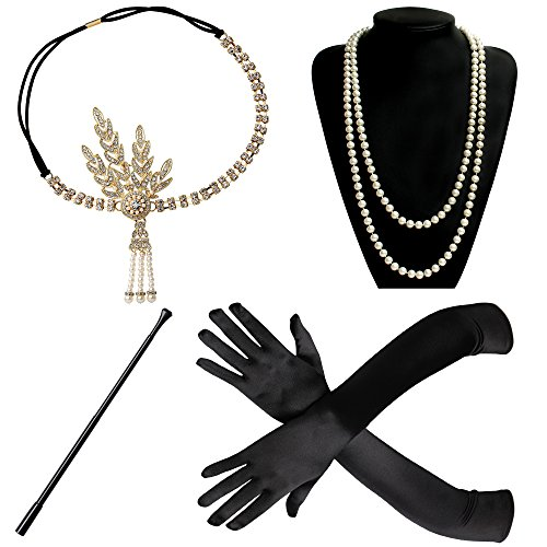 BABEYOND 1920s Flapper Gatsby Costume Accessories Set 20s Flapper Headband Pearl Necklace Gloves Cigarette Holder (Set-23) ()