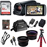 Canon VIXIA HF R800 Full HD Camcorder, CMOS Sensor, 57x Advanced Zoom, Fast & Slow Motion Recording + 0.43xWide Angle Lens + 2.2x Telephoto Lens + 32GB Storage + Spider Tripod + Case