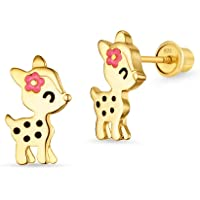 14k Gold Plated Enamel Flower Deer Baby Girls Earrings with Sterling Silver Post
