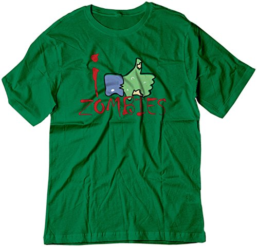 BSW Men's I Like Zombies Thumbs Up Facebook Shirt LRG Kelly Green