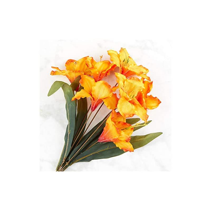 silk flower arrangements factory direct craft orange artificial amaryllis bush