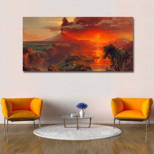 Church Oil Paintings - Libaoge Wall Print Art   Frederick Edwin Church Natural Landscape Painting - Photograph Printed on Canvas for Home Wall Decoration   Stretched by Wooden Frame,Ready to Hang - 16X32 Inch