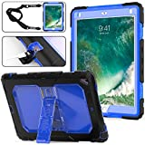 SEYMAC Stock iPad Case 6th/5th Generation 2018/2017 Case, Shockproof Protective Case, with [Portable Shoulder Strap]&[Kickstand] Compatible with Apple iPad 9.7 2018/2017/ Air 2/ Pro 9.7 - Blue/Black