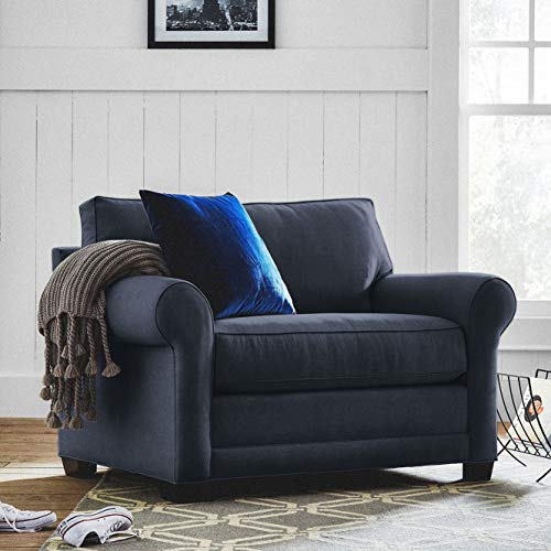 "Stone & Beam Kristin Chair-and-a-Half Upholstered Sleeper Sofa, 55.5""W, Navy"