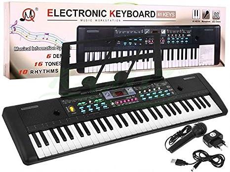 Teclado electrónica de Juguete Keyboard MQ-605UFB con Microfóno: Amazon.es: Juguetes y juegos