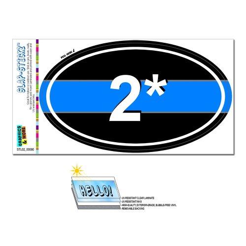 Thin Blue Line 2 Two Asterisk K-9 Unit - Police Euro Oval SLAP-STICKZ(TM) Automotive Car Window Locker Bumper (Asterisk Decal)