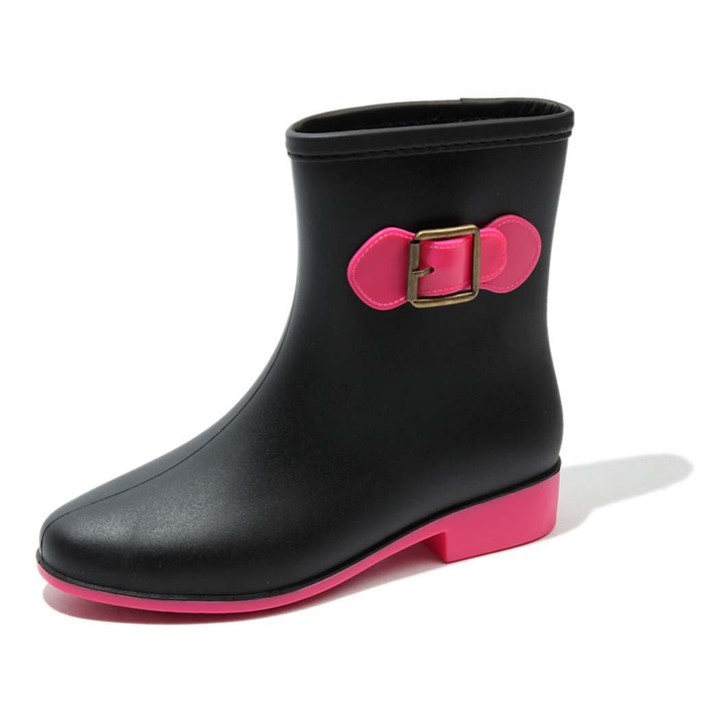 Botas De Mujer Para Adultos Martin Zapatos De Mujer En El Tubo Botas Zapatos Impermeables Cortos Zapatos Resistentes Al Deslizamiento Del Tubo,Pink,40 40