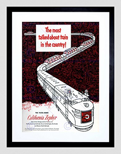 Advert California Zephyr 1950S Train Western Pacific Framed Art Print B12X5523 ()