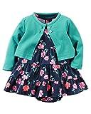 Carters Baby Girls 2 Piece Floral Dress Set Green/Navy Flowers-NB