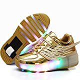 Ehauuo Unisex Lighted Shoes Skate Shoes for Girls Roller Shoes for Boys Kids LED Light up Wheel Shoes Flashing Sneakers for Gift (6.5 M US Big Kid, A-Golden)