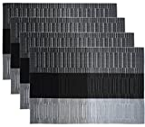 Black Kitchen Table NKTM Set of 4 Heat-Resistant Stain-Resistant Anti-Skid Reversible Vinyl Placemats for Kitchen Table in Dining Room Restaurant (Black+Grey)