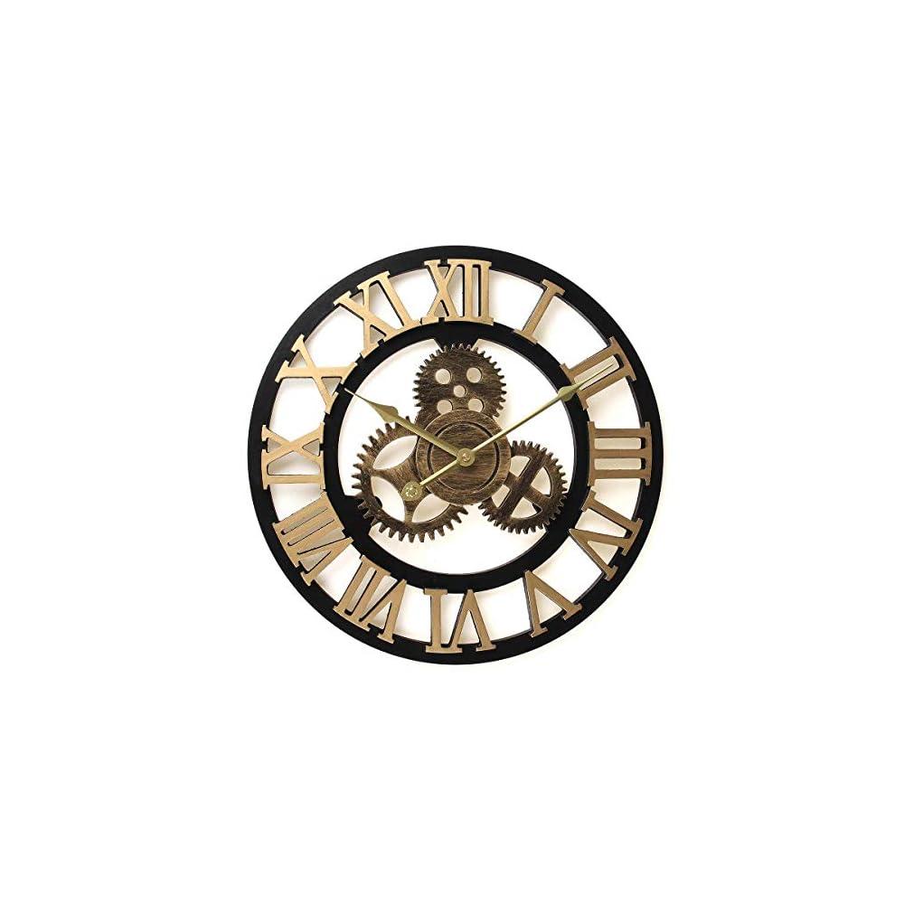 16 Inch 3D Circular Retro Roman Numeral Wooden Wall Clocks Analog Gold Metal Clock Large Mute Vintage Gear Wall Clock…