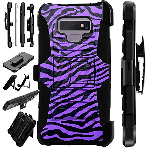 For Samsung Galaxy Note 9 Case Armor Hybrid Silicone Cover Stand LuxGuard Holster (Purple Zebra Skin)