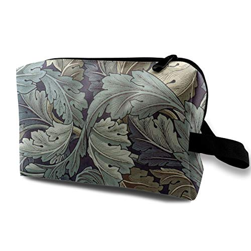 Cosmetic Bag Tropical Acanthus Leaf Art Pattern Makeup Pouch Toiletries Bags Storage Resistance Carry Handle Pen Pencil Power Lines Travel Cases