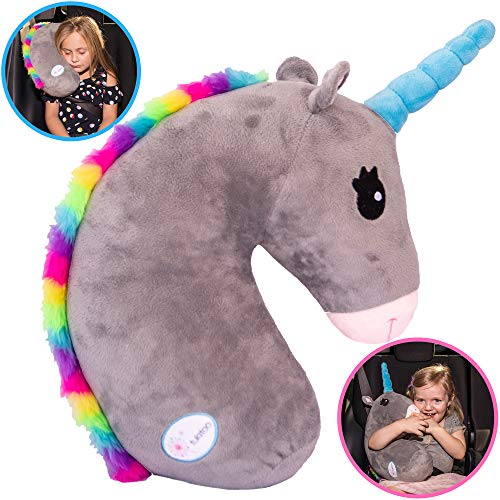 Tulatoo Unicorn Stuffed Animal Travel Pillow- Perfect Neck Pillow & Seat Belt Cover